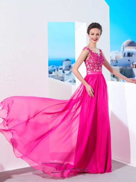 A-Linie/Princess-Linie Sweep/Pinsel zug Chiffon Reiner Hals Applikationen Ärmellos Kleid