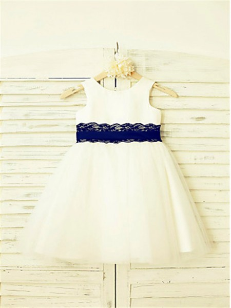 A-Line/Princess Tea-Length Lace Scoop Sleeveless Tulle Flower Girl Dress