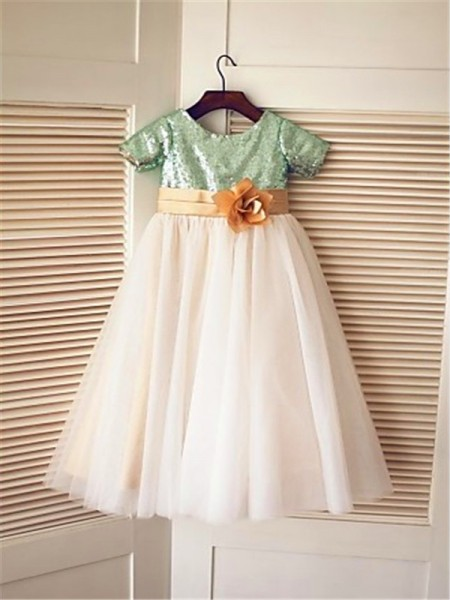 A-Line/Princess Tea-Length Sequin Scoop Short Sleeves Tulle Flower Girl Dress