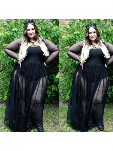 A-Line/Princess Sheer Neck Ruched Floor-Length Chiffon Plus Size Dress