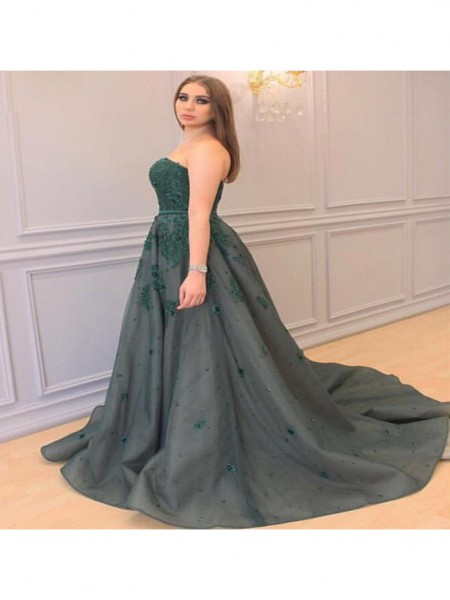 A-Line/Princess Sweetheart Applique Court Train Tulle Plus Size Dress