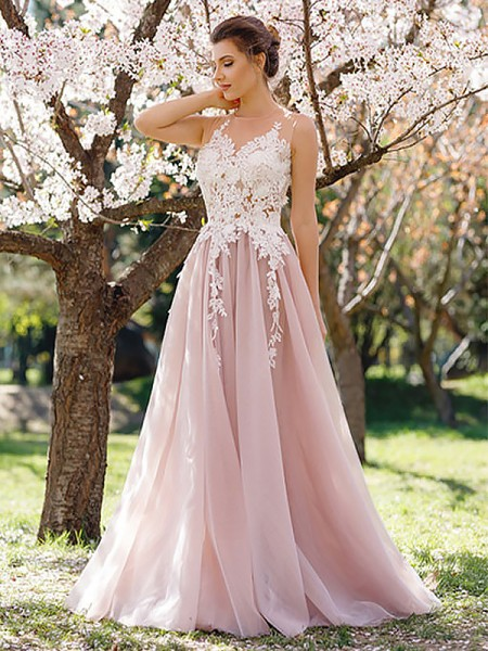 A-Line/Princess Jewel Floor-Length Applique Tulle Dress