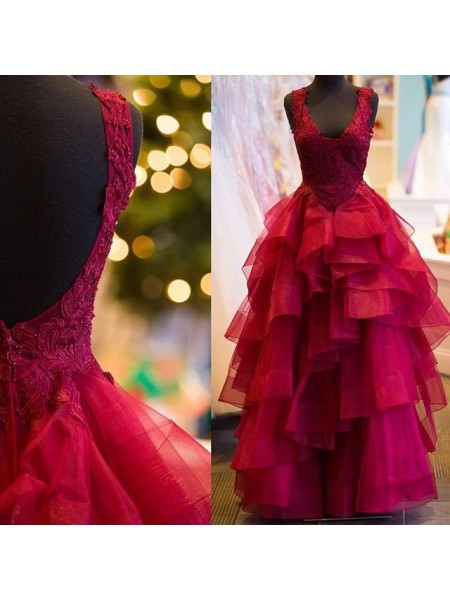 Ball Gown Applique V-Neck Floor-Length Tulle Dress