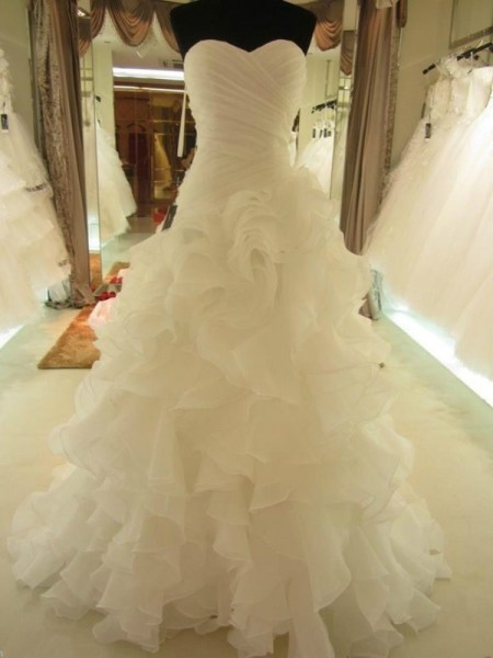 Ball Gown Ruffles Sweetheart Organza Court Train Wedding Dress
