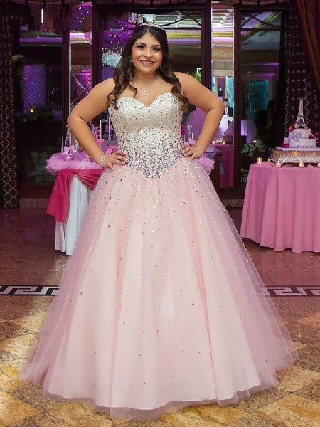 Ball Gown Sweetheart Tulle Floor-Length Plus Size Dress