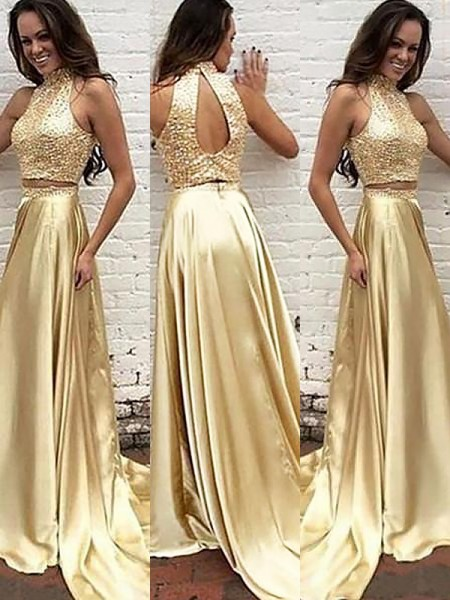 A-Line/Princess High Neck Satin Sweep/Brush Train Beading Two Piece Dress