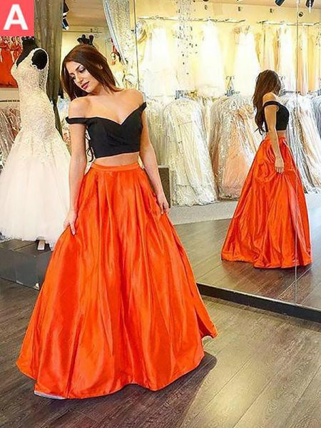 A-Line/Princess Off-the-Shoulder Taffeta Floor-Length Ruffles Two Piece Dress