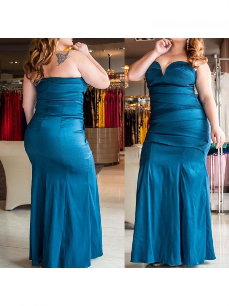 Trumpet/Mermaid Sweetheart Ruched Floor-Length Elastic Woven Satin Plus Size Dress