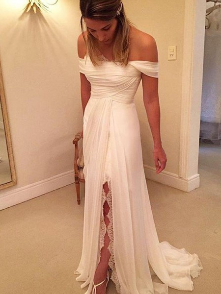 A-Line/Princess Sweep/Brush Train Off-the-Shoulder Ruffles Chiffon Wedding Dress